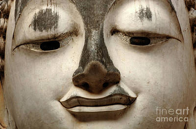 Photograph - White Buddha Detail by Bob Christopher