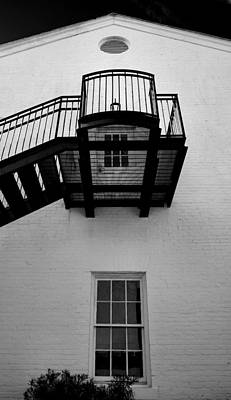 White Building And Stairs Art Print by Steven Ainsworth