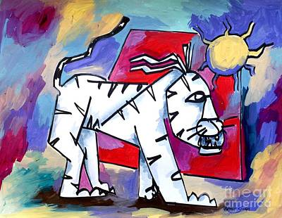 Artist Singh Painting - White Cat by Artist Singh