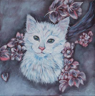 Cat Painting - White Cat by Elena Melnikova