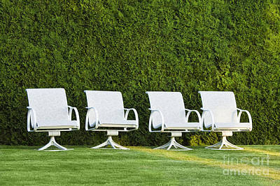 White Chairs On A Lawn Art Print by Don Mason