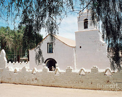 White Church In Chile Art Print by Trude Janssen