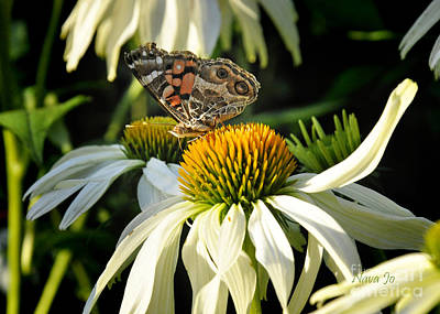 Art Print featuring the photograph White Cone Flower With Angel by Nava Thompson