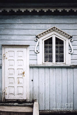 White Doors And Window On Bluish Wooden Wall Art Print
