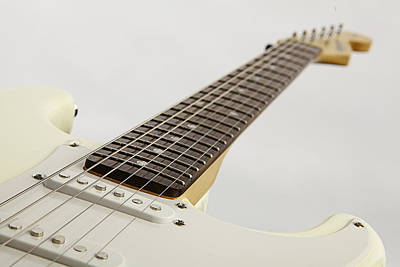 Guitar Photograph - White Electric Guitar On White by M K  Miller