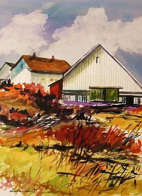 White Farm-spring Art Print by John Williams