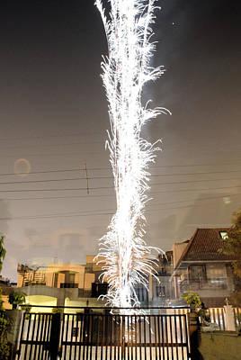 White Fireworks Print by Sumit Mehndiratta