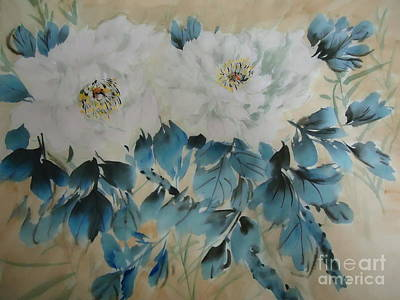 Art Print featuring the painting White Flower by Dongling Sun