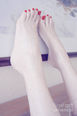 White Girl Bare Foot Art Print by Tos Photos