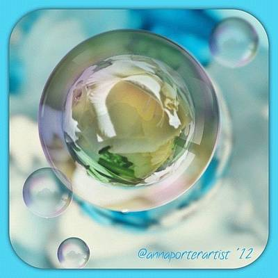 Florals Photograph - White Gladiola Marble In A Bubble by Anna Porter