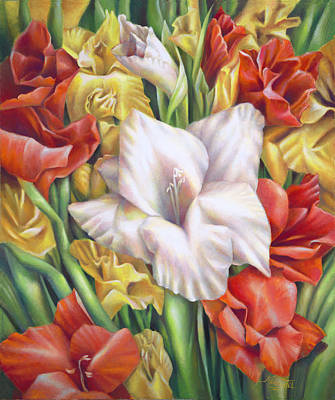 Painting - White Gladiolus Close Up by Nancy Tilles