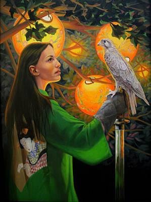 Night Hawk Wall Art - Painting - White Hawk by Pat Lewis