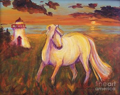 Painting - White Horse By Lighthouse by Suzanne  Marie Leclair