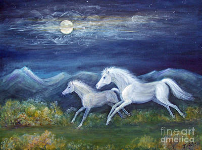 Night Sky With Moon Painting - White Horses In Moonlight by Maureen Ida Farley