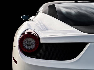 Supercars Digital Art - White Italia by Douglas Pittman