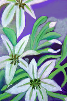 White Lilies Art Print by Margaret Harmon