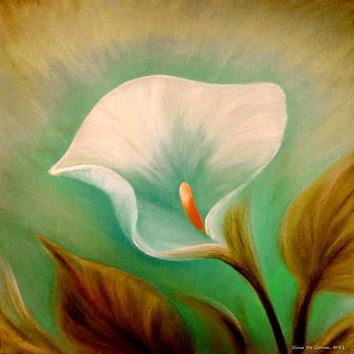 Painting - White Lily by Gina De Gorna