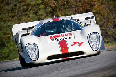 Photograph - White Lola T70 On Track by Alan Raasch