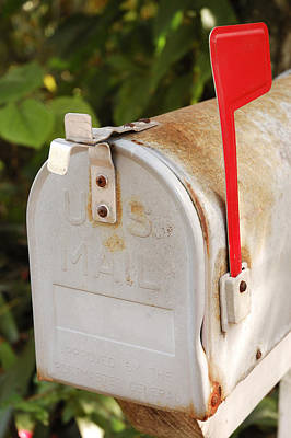 Photograph - White Mailbox With Red Flag by Carol Vanselow