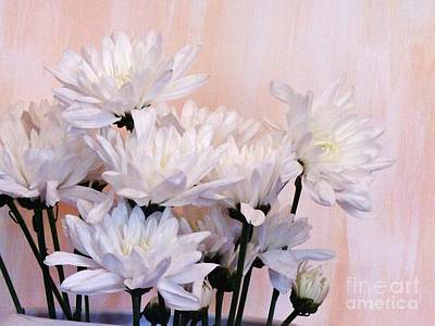 White Mums Art Print by Marsha Heiken