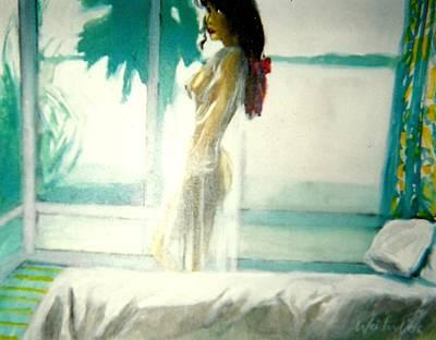 White Negligee Palm Tree Art Print by Harry WEISBURD