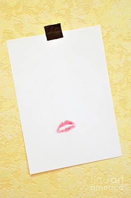 Photograph - White Paper Hanged On Wall With Lipstick Kiss by Sami Sarkis