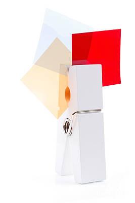 White Peg Holding Squares Art Print