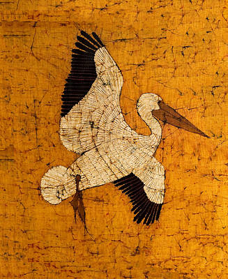 Santa Cruz Batik Artists Tapestry - Textile - White Pelican by Alexandra  Sanders