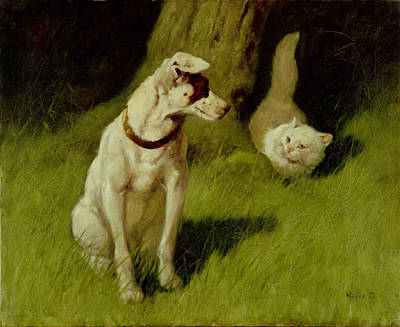 White Persian Cat And Jack Russell Art Print by Arthur Heyer