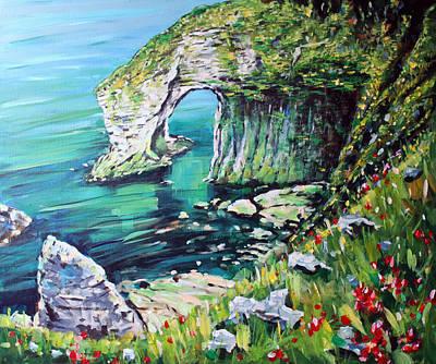 Portrush Painting - White Rocks Portrush  Antrim by Conor McGuire
