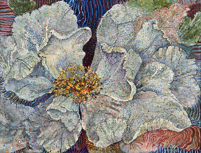 Pointillist Painting - White Rose by Erin Libby
