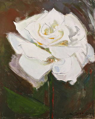 Painting - White Rose-posthumously Presented Paintings Of Sachi Spohn  by Cliff Spohn