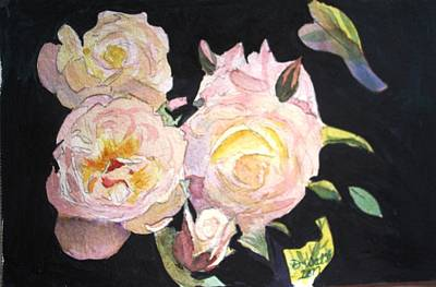 Plein Air Painting - White Roses by Donna Walsh