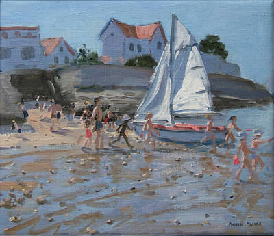 Summer Fun Painting - White Sailboat by Andrew Macara