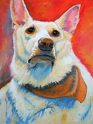 Painting - White Shepherd by Chris Steinken