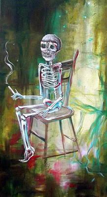 White Skeleton Chair Original by Heather Calderon