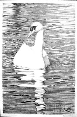 White Swan Art Print by Muna Abdurrahman