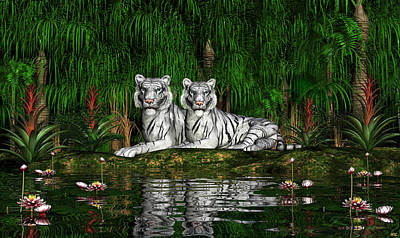 Digital Art - White Tigers by Walter Colvin