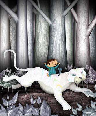 Naive Cartoon Photograph - White Tigger by Juan Jones