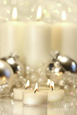 White Votive Candles  Art Print by Sandra Cunningham