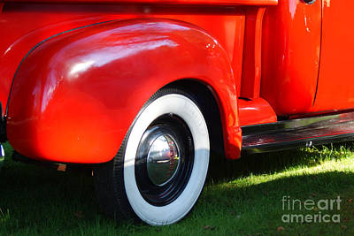 Photograph - White Walls And Red Pickup Truck by Margie Avellino