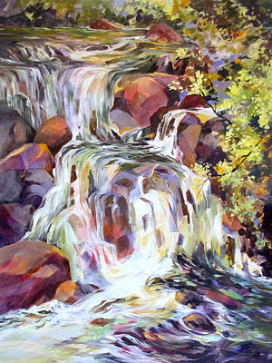 Art Print featuring the painting White Water Tumble by Rae Andrews