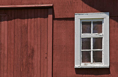 Photograph - White Wood Window Against A Faded Red Wood Farm Barn by David Letts