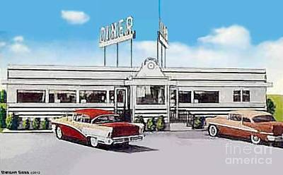 Painting - Whitehouse Diner In Summerville N J In The 1950's by Dwight Goss