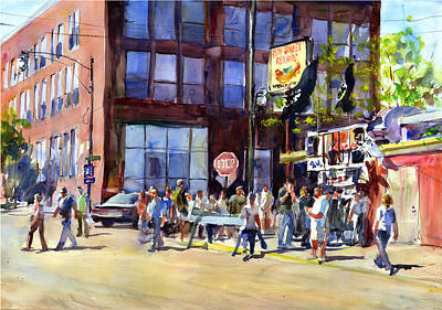 Baseball Scene Painting - Whitesox Game Morning Thirty Fifth And Normal by Gordon France