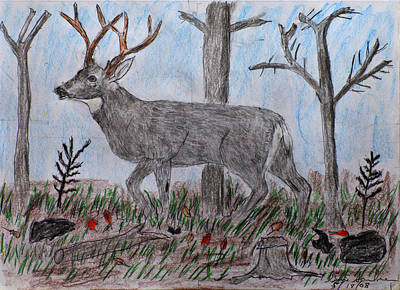 Drawing - Whitetail Deer In A Meadow by Swabby Soileau