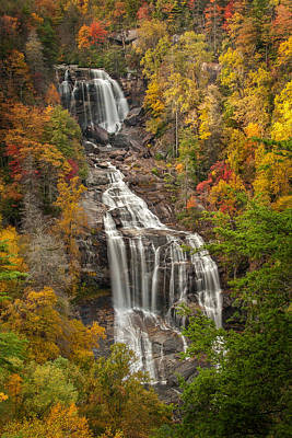 Fall Trees With Stream Photograph - Whitewater Falls 1 by Joye Ardyn Durham