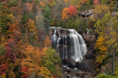 Fall Trees With Stream Photograph - Whitewater Falls 2 by Joye Ardyn Durham