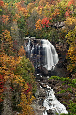 Fall Trees With Stream Photograph - Whitewater Falls 4 by Joye Ardyn Durham