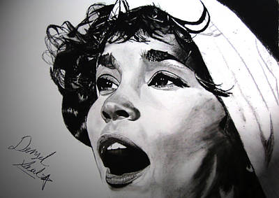 Star Spangled Banner Drawing - Whitney Houston Star Spangled Banner by Denzel  Seals